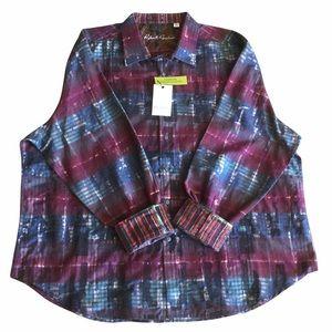 NEW Robert Graham Sport Long Sleeve Dress Shirt Flip Cuffs Size 4XL Classic Fit